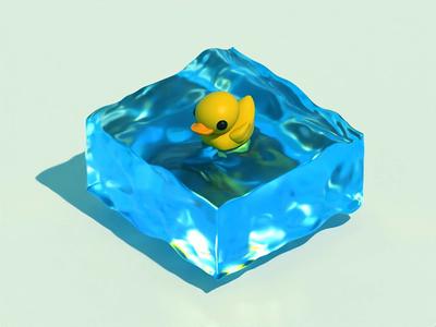 Summer time vacation blue summer summertime waves sea duck design cinema4d c4d 3d animation 3d