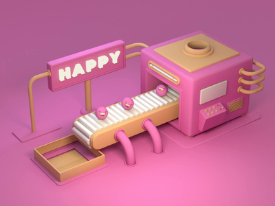 Happy machine factory pink machine happy illustraion 3ddesign render design cinema4d c4d 3d animation 3d