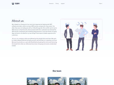 curv.io - About us page animation staff team saas landing page saas about us