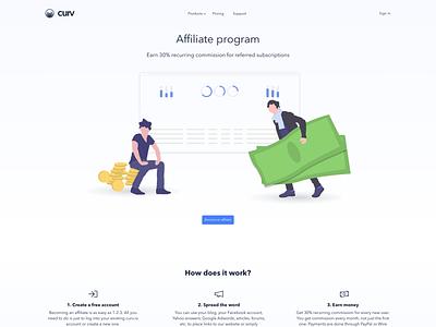 curv.io - Affiliate program page vector illustration saas landing page saas app flat  design affiliate marketing affiliate program affiliate