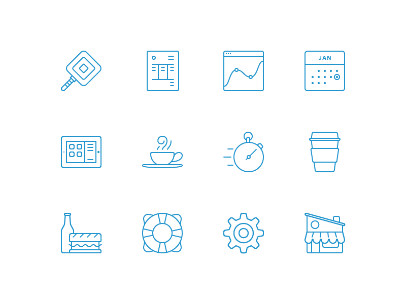 New Square Icons reader invoice analytics calendar ipad coffee cup cafe stopwatch sandwich support settings store