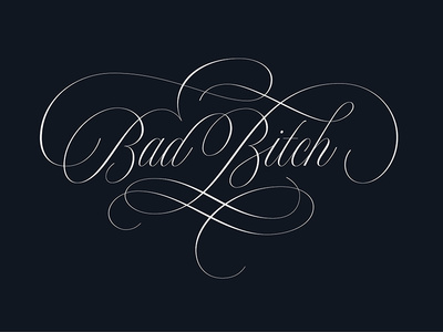 Bad Bitch script calligraphy lettering vector