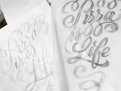 pizza is life typography sketch brush lettering hand lettering script lettering