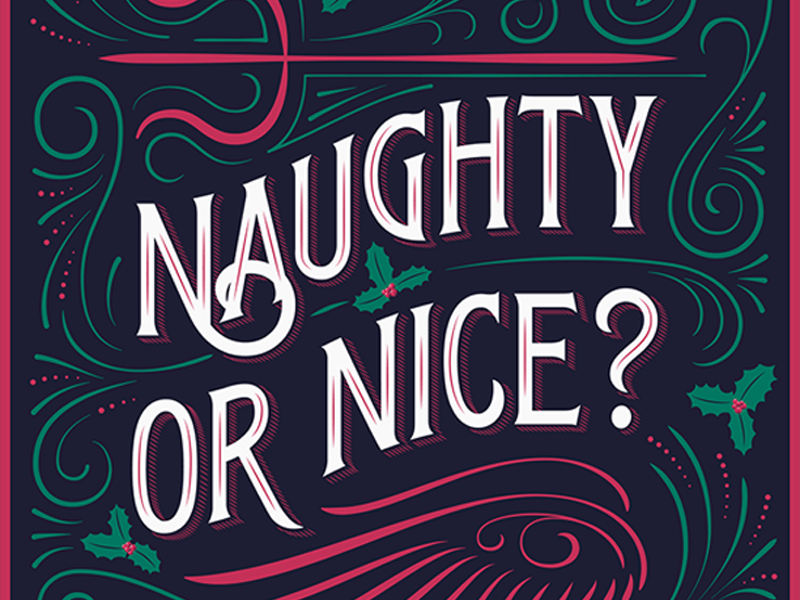naughty or nice holly devil angel pitchfork wings flourishing christmas vector illustration victorian lettering