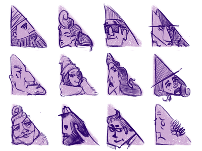 triangle shape study sketch illustration character design