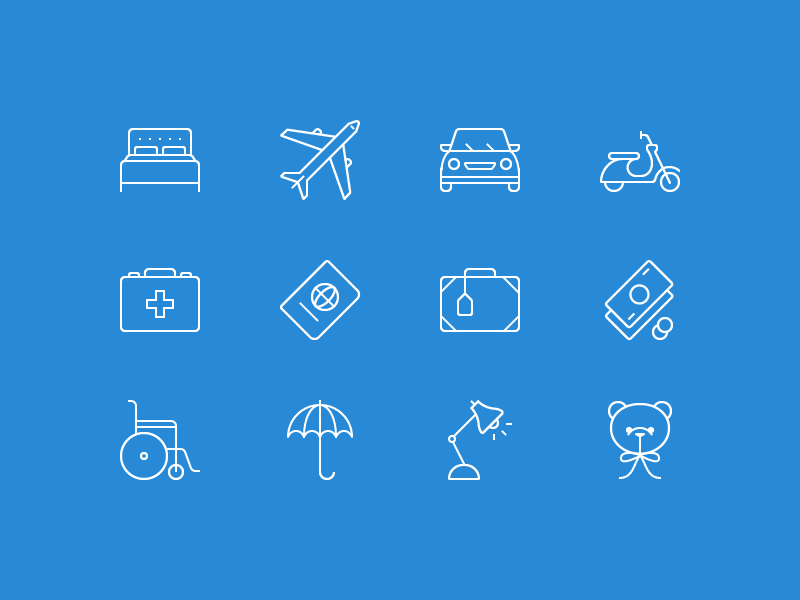Lonely Planet icons line icons illustration vector