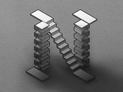 Typefight N illustration escher vector blackletter perspective black and white lettering