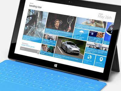 Trending news UI ui ux windows mobile tablet surface trending tiles blue