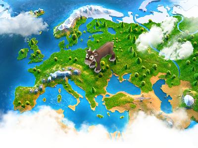 Small planet render 3d finland reindeer map world