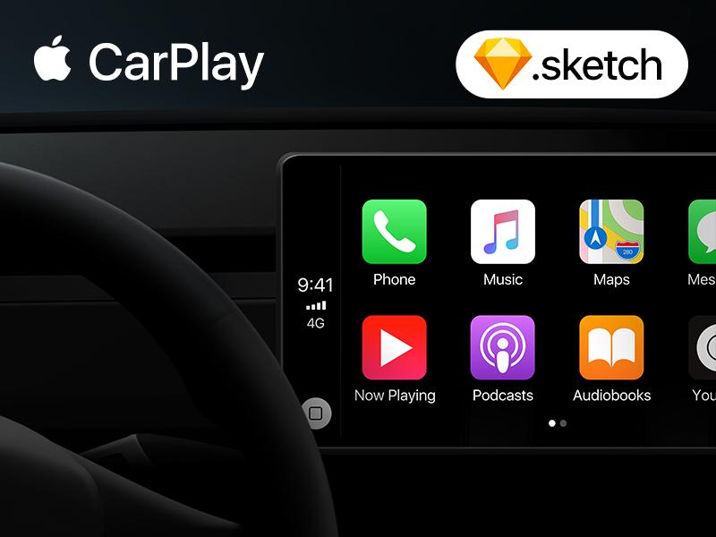 Download CarPlay Sketch template template freebie ui car carplay apple mockup sketch