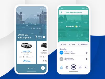 Whim ui transportation mobility map circle car app