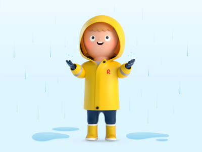 There is no such thing as bad weather! illustration mobileapp kids 3d character