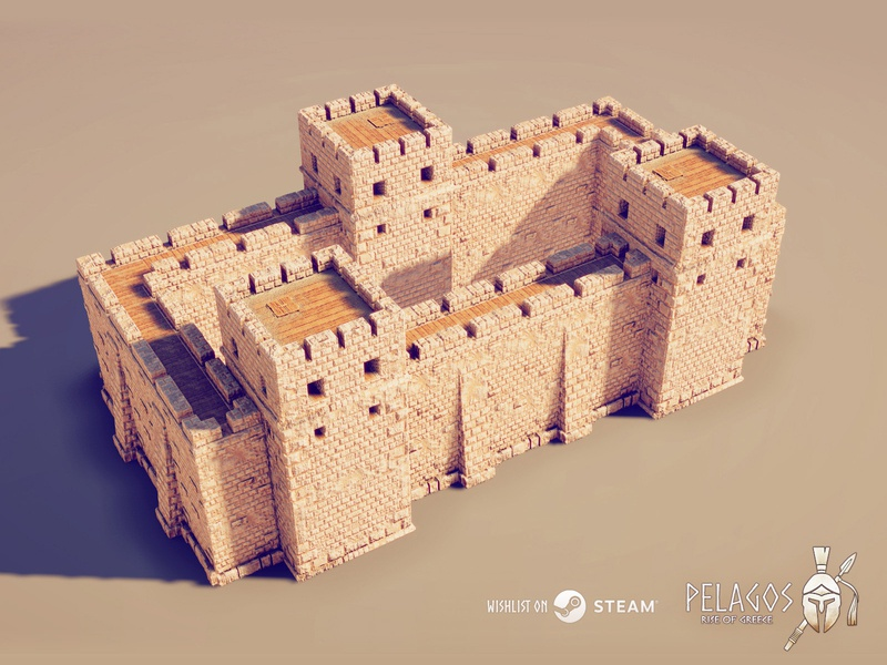 Modular 3d Walls ( PBR ) - Pelagos: Rise of Greece strategy rts ancient greek greece building fortification tower wall walls lowpoly low poly art 3d game steam pelagos