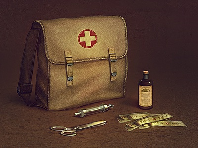 WWII aid kit icon game icon icon designer wwii scissors item concept art game item brainchild.pl brainchild rafał urbański rafal urbanski
