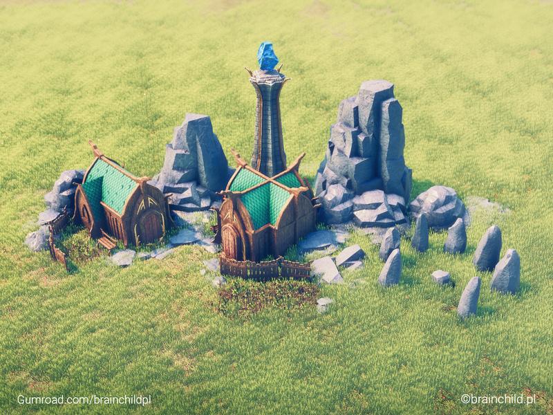 Elven village - 3d Stylised low poly (Renderd in Unity) rocks house 3d game model game model 3d model 3d artist 3d art 3dart 3d village building elven elf