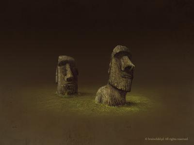 easter island statues  (2x)