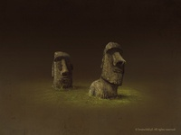 easter island statues  (2x)
