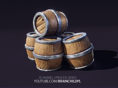 Youtube Video - 3d PBR Barrel Model | Blender 2.8 3d Art tutorial brainchildpl rafał urbański low poly 3d sculpting 3d modeling game game art lowpoly youtube