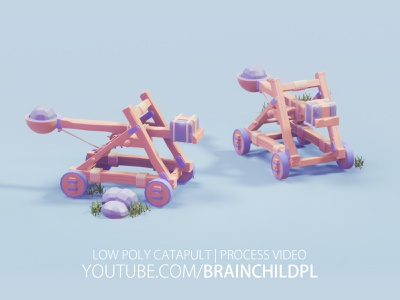 [ Youtube VIDEO ] 3d Model - Low Poly Catapult | Blender 2.8 stylised cartoon 3d game model rafał urbański brainchildpl 3d artist 3d art tutorial lowpoly tutorial low poly art low poly game art low poly