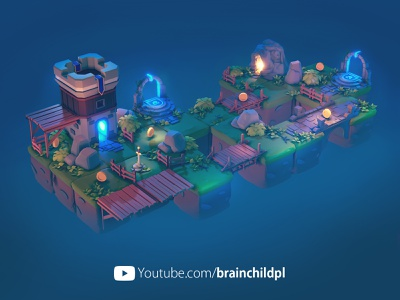 PART 7: Night View - Blender & Unity - 3d Low Poly Game Art youtube video unity game unity tutorial tiles sword night render lowpolyart lowpoly3d low poly lowpoly game design game art cave brainchildpl 3d rendering 3d game art 3d