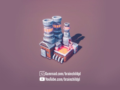 Iron Smelter 3d Game Building - 3d Low Poly Game Ready Asset unity game unity strategy rts building low poly lowpoly game asset game art factory city builder blender 3d blender 3d model 3d low poly building 3d game art 3d artist 3d art 3d