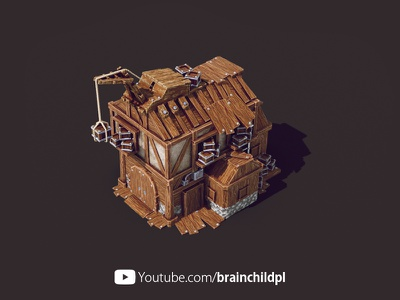Warehouse (Level 2) Building - 3d Low poly Game Building textures strategy rts post-apocalypse medieval 3d low poly art low poly lowpoly landing pad game building game art city builder brainchildpl apocalypse 3d low poly 3d game building 3d game art 3d artist 3d art