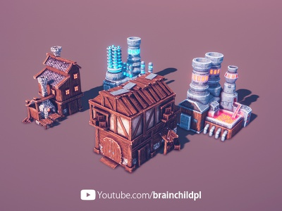 4 game buildings - Low Poly 3d Game Models & Textures | Lowpoly blender 3d building 3d artist low poly artstyle 3d low poly game art low poly game 3d art citybuilder strategy building indiedev indie gameart lowpoly3d lowpoly low poly low poly 3d 3d low poly 3d game building 3d game art