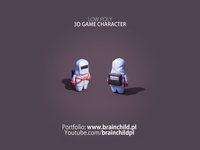 Low Poly 3d Game Character in a protective suit texture brainchildpl 3d game model substance substancepainter blender 3dlowpoly lowpoly3d low poly 3d game art lowpoly low poly stylised mascot character design suit 3d artist 3d 3d character character