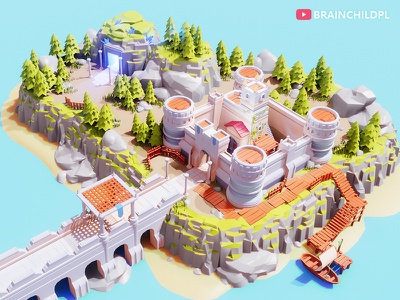[Work in Progress] Low Poly CASTLE Blender 2.90 | 3d ART blender lowpoly enviroment fantasy medieval ship water low poly rock low poly tree building model 3d building 3d game building bridge rocks tree trees low poly cave town castle