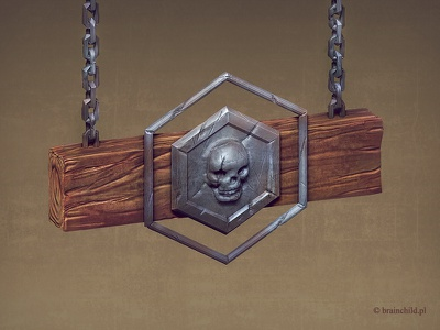 Guild (signboard) icon 3d brainchild.pl brainchild rafał urbański isotx game icon desing icon designer designer game icon skull