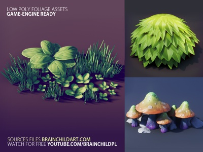 Game-ready 3d Assets - Foliage | Mushroom, Bush, Grass & Plants mushroom cartoon stylised plant plants unity substance painter blender game design 3d game design pbr game art pbr grass foliage bush game asset game assets game ready game art low poly