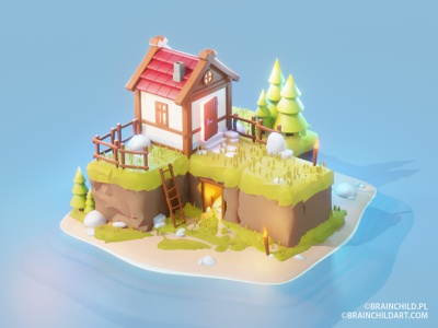 Cute Low Poly Hut on an Island | 3d Game Model Blender 2.90 3d modeling 3d modeler 3d artist game artist 3d design environment design lowpolyart lowpoly3d illustration game concept game ready 3d game asset house hut freebie free indie game art low poly 3d lowpoly
