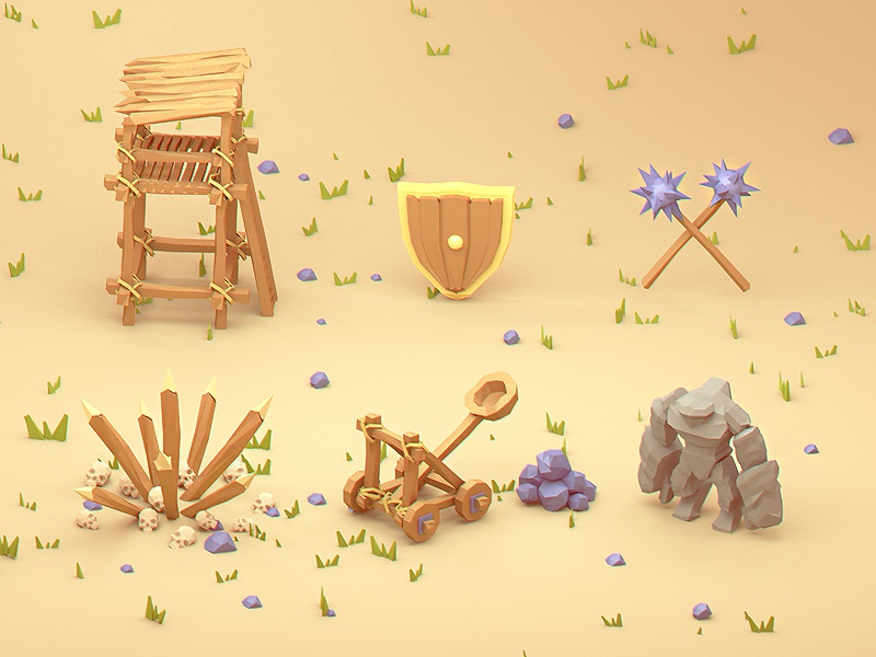 low poly icons (2x)