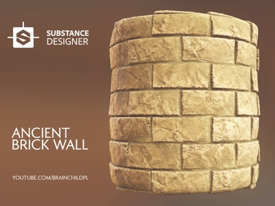 (Speed Texturing) Ancient Sandy Brick Wall in Substance video tutorial 3dartwork damaged old realistic 3d art substance designer madewithsubstance procedural brick wall ancient game model game texture texture texturing lowpoly 3d modeling 3dartist 3d