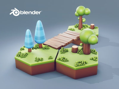 Stylised Clean Modeling & Rendering in Blender 3d | Blender Spee lowpoly3d lowpolyart hexagon stylised tree blender low poly blender speed modeling low poly grass low poly bridge low poly tree 3d artist 3d model 3d art cartoon art stylised art low poly 3d game model game model 3d modeling 3d lowpoly