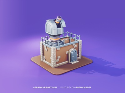 Small Observatory Building in Blender illustration 3d illustration tutorial low poly lowpoly3d lowpolyart modeling art cartoon stylised tower defense tower 3d 3d modeling 3d artist 3d art 3d game building 3d game art building lowpoly