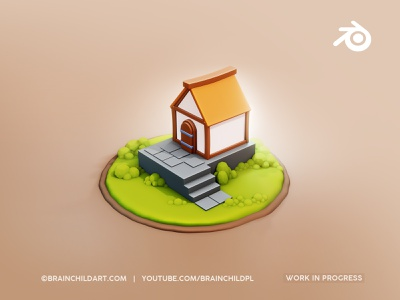 Lowpoly Style | Flat Shaded #WIP Small Hut in Blender 3D 3d game building medieval cute cartoon stylised render simple clean flat flat shading flat shaded low poly 3d lowpoly blender3d game art 3d 3d modeling 3d art blender blender 3d