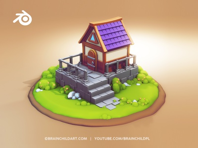 Tiny Cute HUT in Blender 2.90 - FULL PROCESS fairy playful concept art 3d illustration 3d architecture 3d artwork 3d artist tiny hut lowpolygon lowpoly3d lowpolyart low poly flat shading flat shaded flat 3d modeling tutorial tutorial 3d modeling 3d art lowpoly