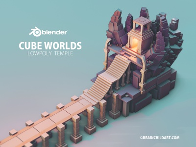 Using only the Default Cube in Blender 3D - Low poly Environment concept art tutorial 3d modeling cartoon art stylised art game assets game artist game design environmental flat shaded flat shading lowpoly b3d blender cube game asset game art environment design 3d artist environment