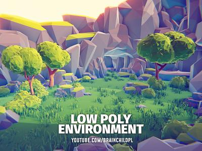 Low poly 3D environment | Youtube.com/brainchildpl blender 3d blender to unity unity blender tutorial digital art concept art design vegetation foliage artwork art game illustration 3d modeling 3d art 3d environment lowpoly low poly