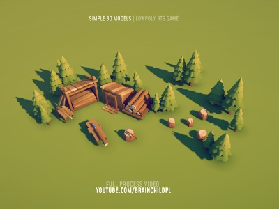 lowpoly 3d models RTS / City Builder | Youtube.com/brainchildpl lowpoly environment lowpoly tree pine tree woodcutter unity blender 3d modeling game model 3d model 3d building building digitalart concept art design game game art low poly lowpoly citybuilder rts