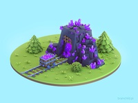 Crystal mine - Pre-rendered 3d Game Building