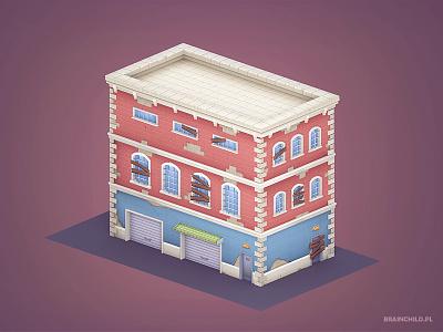 Cartoon 3d Building - Low Poly cartoon urbanski brainchild poly low pc mobile design game texture model 3d