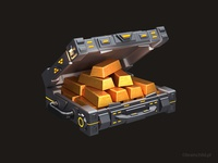 3d Gold Suitcase icon for a mobile game