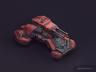 Tank 07 / Low poly (around 6k tris) pbr substance painter 3d mobile game unit truck concept sci-fi tank vehicle