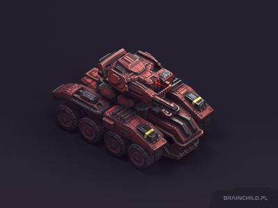 Vehicle 04 / Low poly (around 5k-6k tris) substance painter 3d mobile game unit truck concept sci-fi tank vehicle