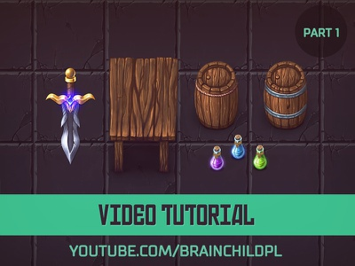 [Tutorial] Painting Top-Down 2d game assets[Part 1/3] video tutorial tutorial desk barrel dagger stone texture 2d game game top-down 2d