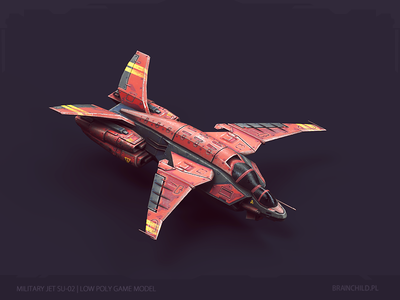 Military Jet SU-02   Low poly game model unity substance painter model textures low poly high poly blender low poly model game model vehicle