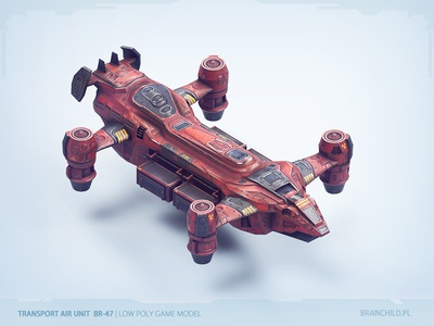 Transport air unit  BR-47   Low poly game model sci-fi plane airplane aircraft substance painter unity pc ipad game model low poly pbr