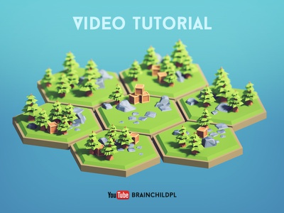 [Tutorial] Creating 3d Low Poly (cartoon) Hexagon Tiles  models. 3d low poly hexagon low poly illustration low poly rock low poly tree blender tutorial low poly tutorial low poly model